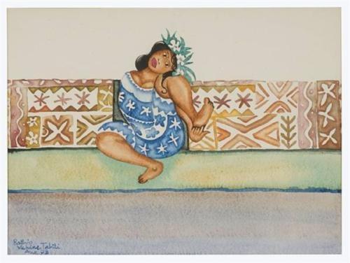 Walter Battiss (1906 - 1982) | Post-Impressionism, Primitivism | Tahitian girl