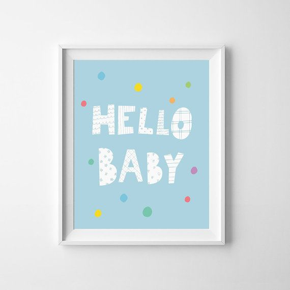 Blue nursery decor, Hello Baby Print, Digital print, wall art printable, tiffany blue room decor, typography quote, Instant digital download
