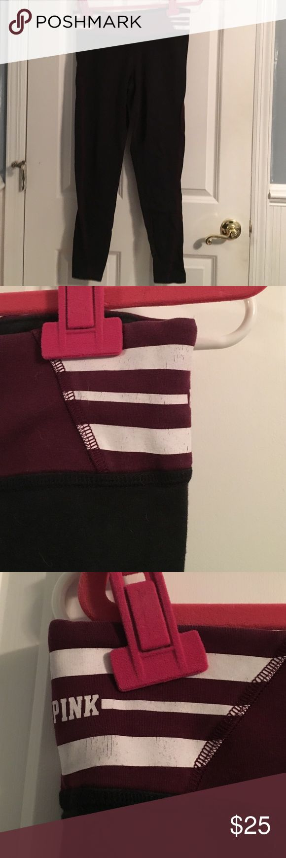 PINK yoga pants PINK yoga pants, burgundy stripe on band, with pocket for credit card/id PINK Victoria's Secret Pants