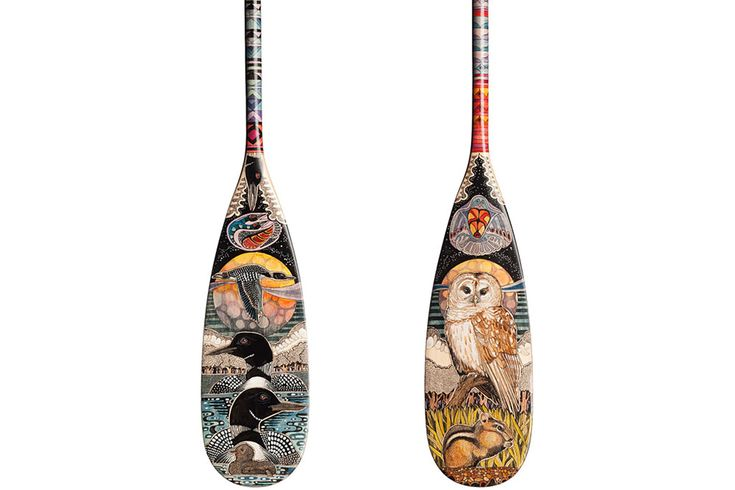 Hand painted canoe paddle #23 by John Doherty