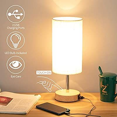 Bedside Lamp With Usb Port Touch Control Table Lamp For Bedroom Wood 3 Way Dimmable Nights In 2020 Bedside Lamps With Usb Port Bedside Lamps With Usb Nightstand Lamp
