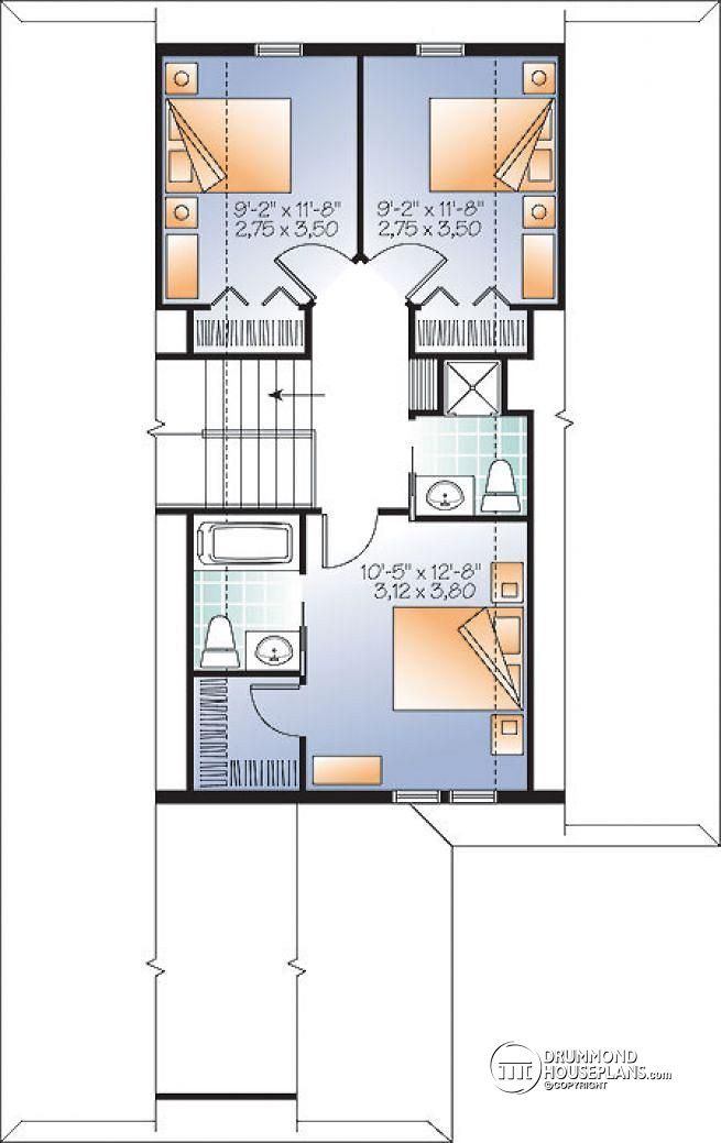 2nd level Lakefront or mountain 4 bedroom home plan, 2 master suites, open floor plan, home office, bonus space, 3 baths - Peregrine's View