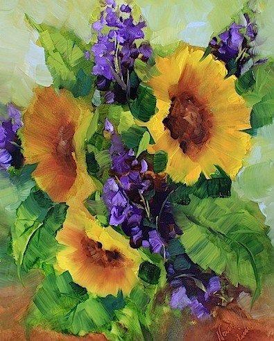 """Garden Gala Sunflowers by Texas Artist Nancy Medina"" - Original Fine Art for Sale - © Nancy Medina"