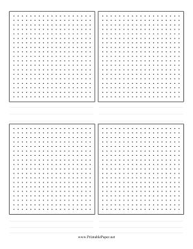 Four grids of dot paper are arranged on this storyboard template that features note-taking lines. Free to download and print
