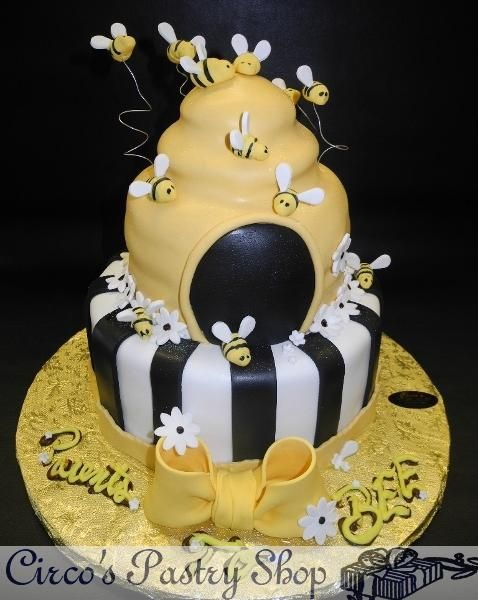 Bee Fondant Baby Shower Theme Cake Black And Gold