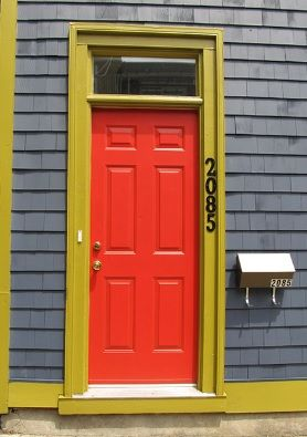 Red Front Door, Mustard Green Yellow trim and Grey Mauve Weatherboard colour - I love this colour scheme for the exterior of the house very colourful!