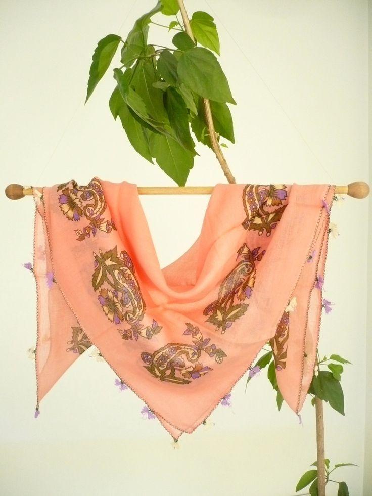 Turkish needle laced antique scarf / Handicraft vintage foulard / cotton, sugar pink, floral printed versatile kerchief / unique gift idea by TurkishHands on Etsy