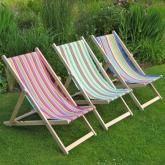 Deckchairs, new range of fabrics. Nicely made in England from solid beech wood and heavy-duty cotton canvas. http://www.dyg.ie/accessories/traditional-folding-garden-deck-chair