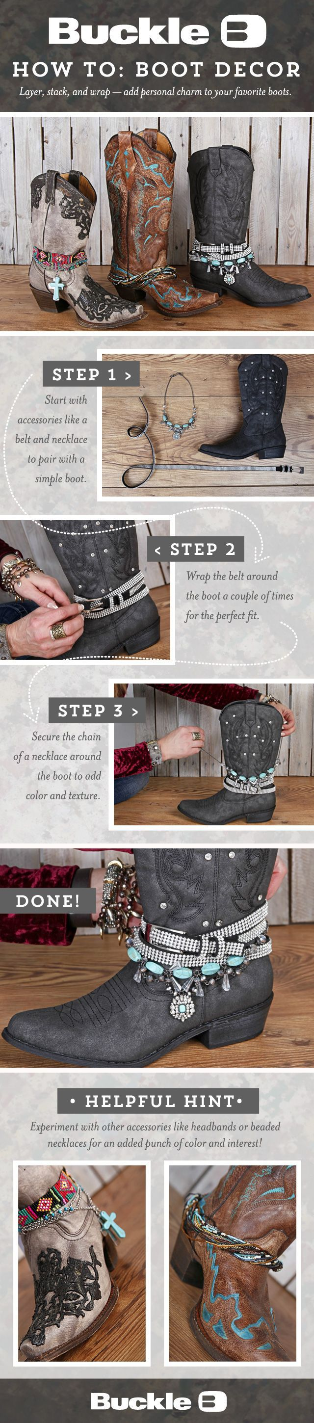 Check out our blog for more details on boot decor! www.bucklestore.blogspot.com
