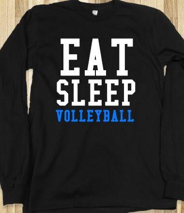 Eat Sleep Volleyball long sleeve black tee t shirt