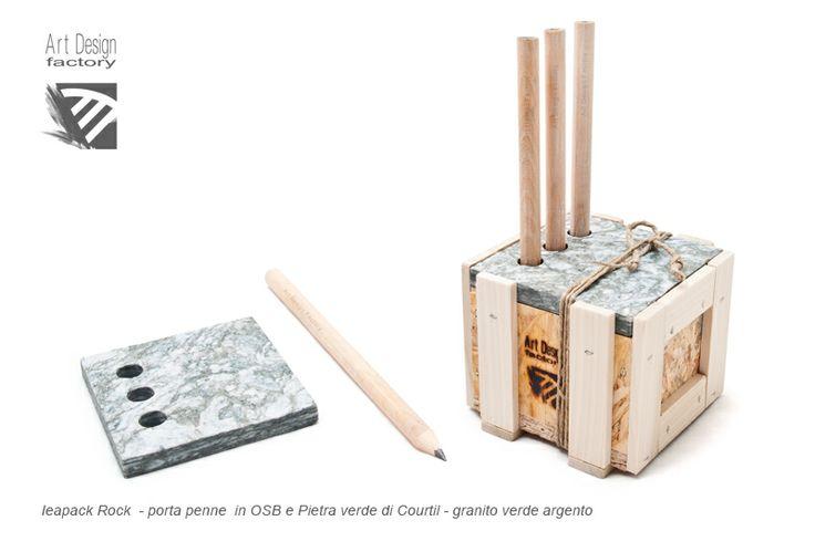 Ieapack Rock (Industrial Ecologic Art Packaging), pen holder OSB and green Courtil stone www.artdesignfactory.eu
