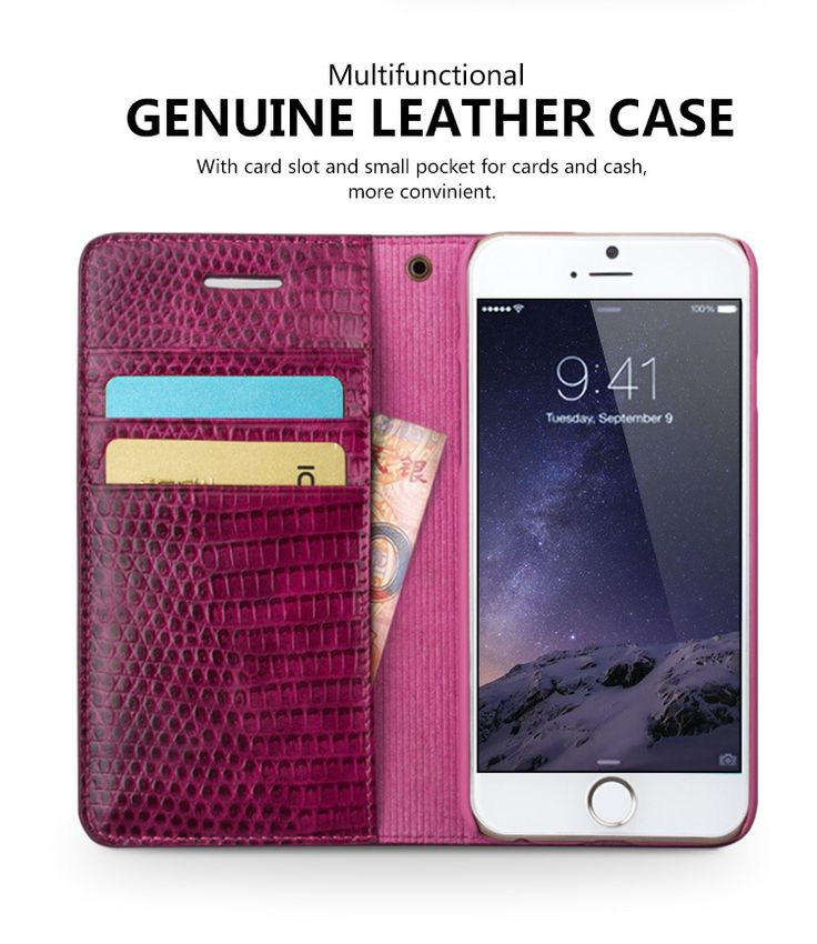 """Qialino Crocodile Pattern Pink Geniune Leather Case for iPhone 6 Plus 5.5"""""""