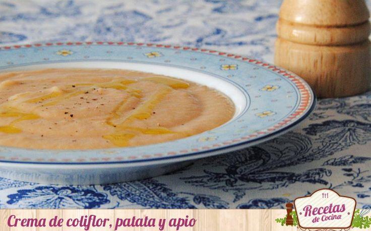 Crema de coliflor, patata y apio - Comenzamos el fin de semana preparando una receta sencilla y muy nutritiva: crema de coliflor, patata y apio. Es un plato que nos os llevará mas de 30 minutos elaborar y que podréis servir como primer plato en el almuerzo o como único plato de una cena ligera. Con un sabor suave, convencerá a to... - http://www.lasrecetascocina.com/crema-coliflor-patata-apio/
