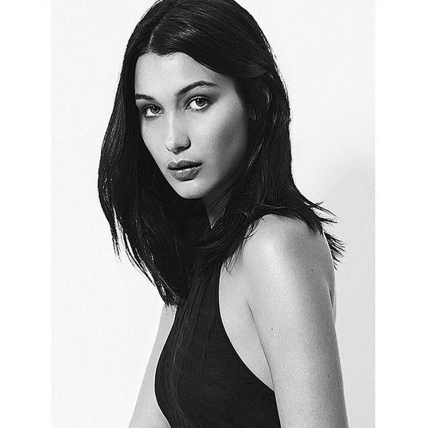 bella hadid mid length dark hair