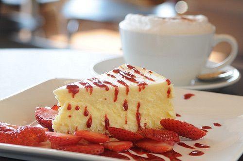 Image via We Heart It https://weheartit.com/entry/146080672/via/13972602 #beige #berries #beverage #breakfast #cafe #cake #coffee #cream #delicious #dessert #drink #food #latte #red #restaurant #strawberries #white #yummy #cafeteria #cheescake #tartlets