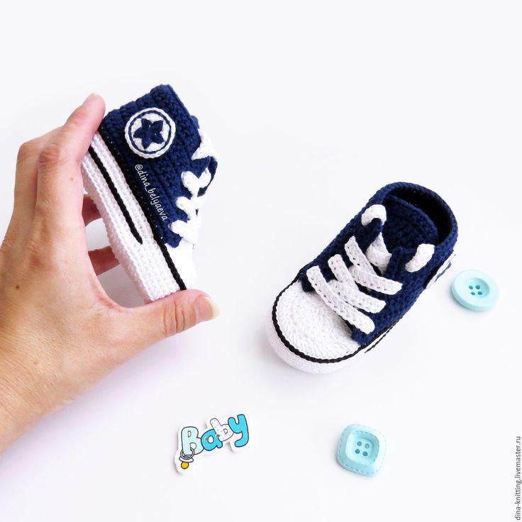 Crochet baby shoes   Купить вязаные пинетки кеды пинетки для мальчика вязаные конверсы синий - пинетки кеды