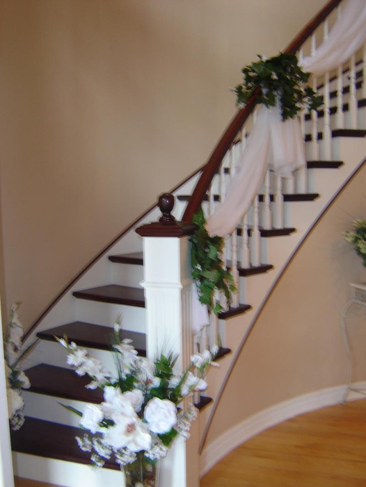77 best images about wedding stairs decor on pinterest for Wedding house decoration ideas