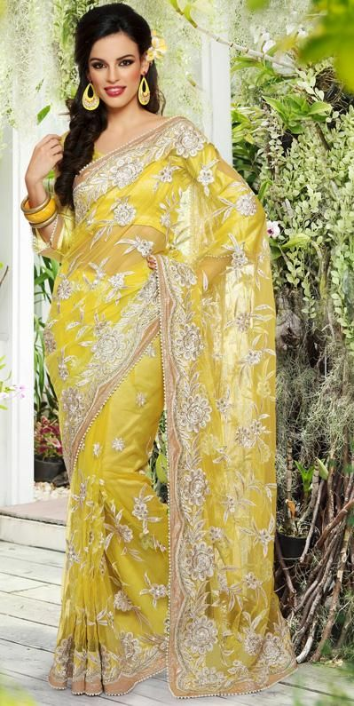 Yellow net bead and embroidery saree