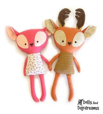 "Deer softies tutorial, these are sooo cute and quirky.  What child (or adult) can resist these ""doe-eyed"" darlings!?"