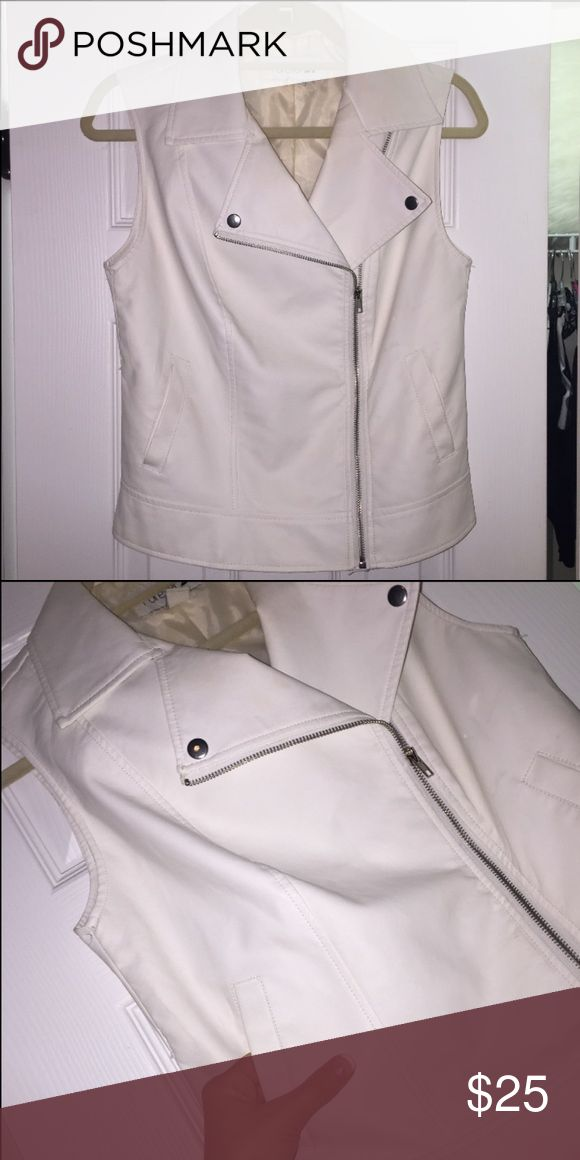 LIKE NEW faux leather cream vest trendy faux leather vest! leave it zipped up or unzipped. has pockets. only worn once, like new condition. hard to find! Jackets & Coats Vests