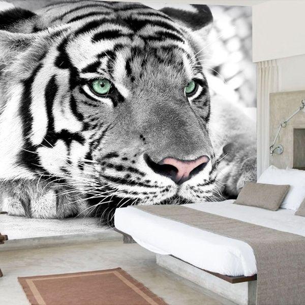Eco Friendy 3d Huge Mural Papel De Parede Black White Tiger