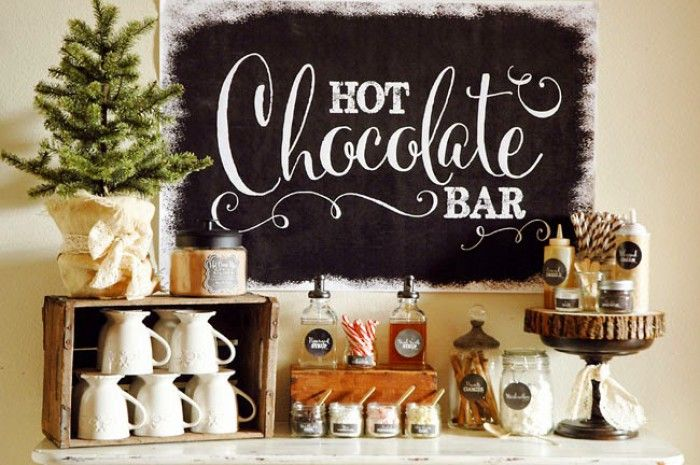 Hot Chocolate Bar op een winter bruiloft