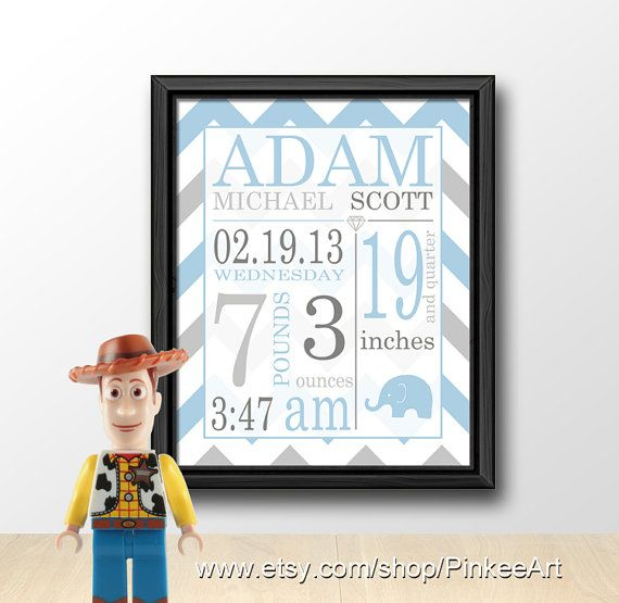 baby birth date print chevron, custom baby name nursery art, personalized new baby print, baby shower gift, new baby announcement baby stats via Etsy