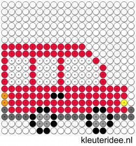Kralenplank bus, kleuteridee.nl , thema verkeer , free printable Beads patterns preschool
