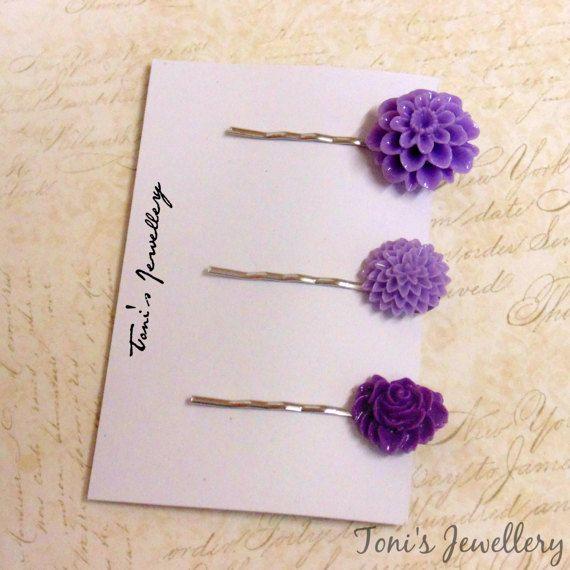 Three Flower Hair Pins  Purple Combo 2 Resin Dainty