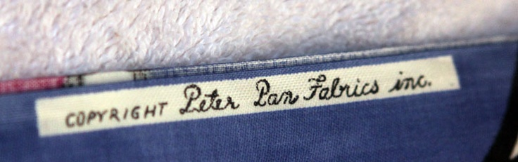 Label on brushed cotton circles - peter pan fabrics