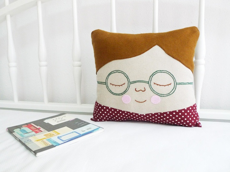 Cushion - Boy with Spectacles, Nick. $60.00, via Etsy.