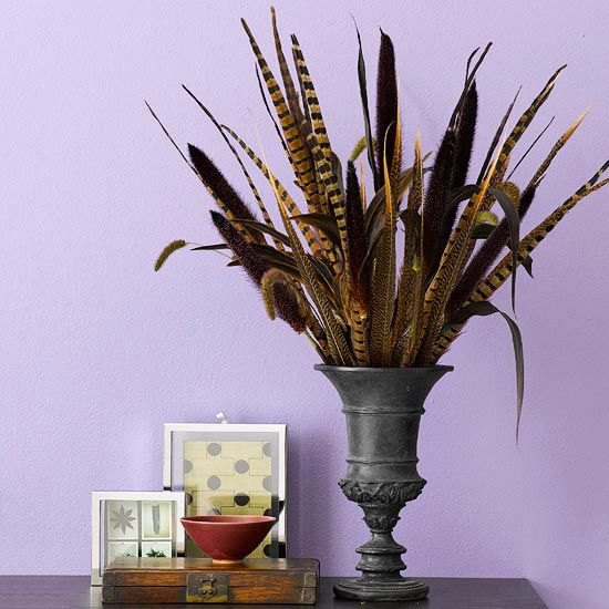 Tall Grass-and-Feathers Tabletop Decoration - a simple idea for a fall table display.