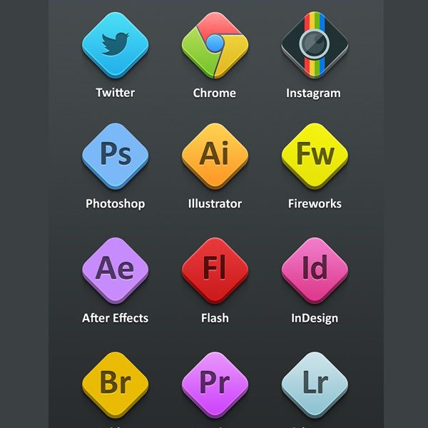 XOO.me :: 12 Rhombus Adobe Program Icons Set PSD