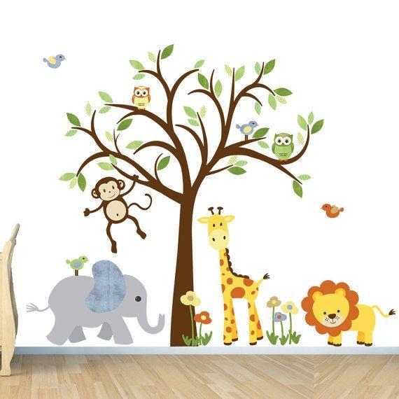 Safari Wall Decal, Nursery Wall Decal, Jungle Animal wall decal, monkey decal, Evergreen Citrus Design on Etsy, $147.85 AUD