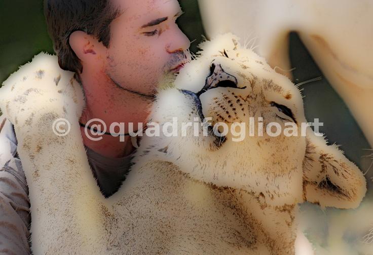 Imagen de un acto de amor! Un león agradecido!!