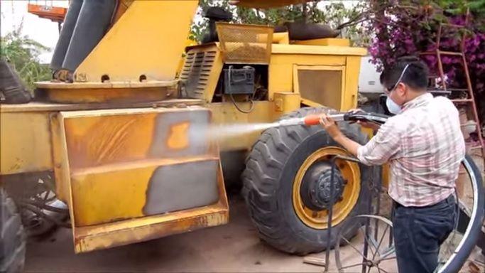 Para limpieza de Maquinaria Pesada, Sandblasting Ecologico con Ecoquip. Sin polvo sin consumo de abrasivos en exceso