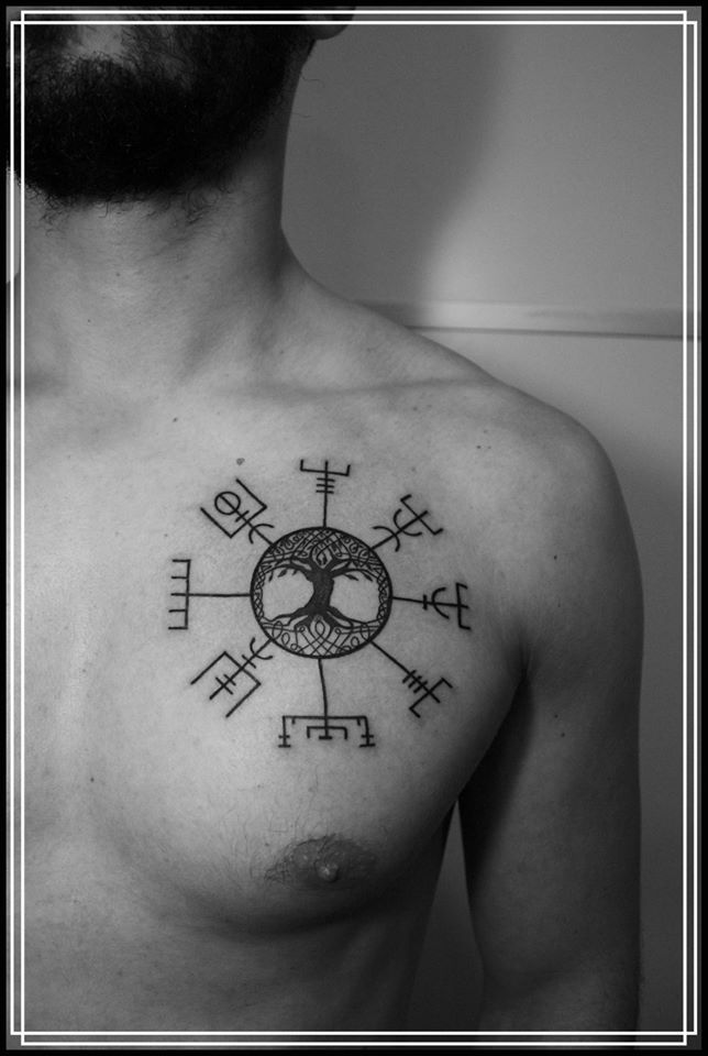 Yggdrasill and Vegvisir tattoo by Ana Petkovic