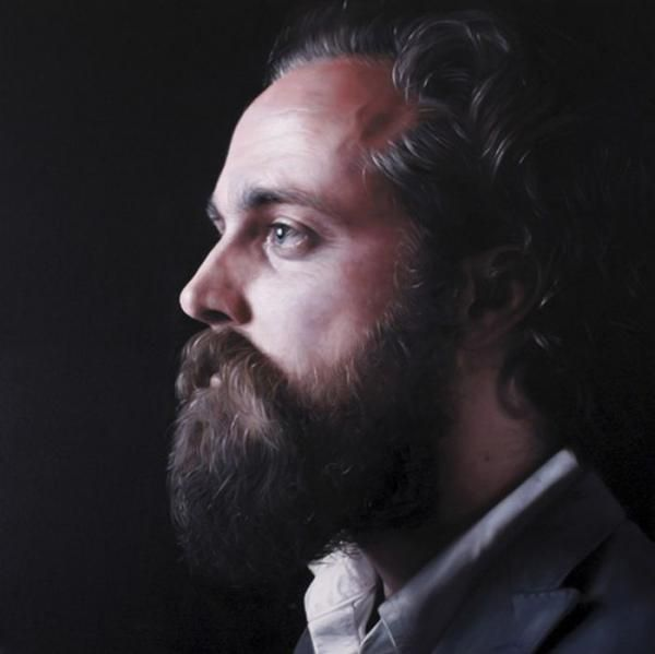 Joe Simpson - Portrait of Sam Beam (Iron and Wine). Part of Simpson's recent series of musician portraits.