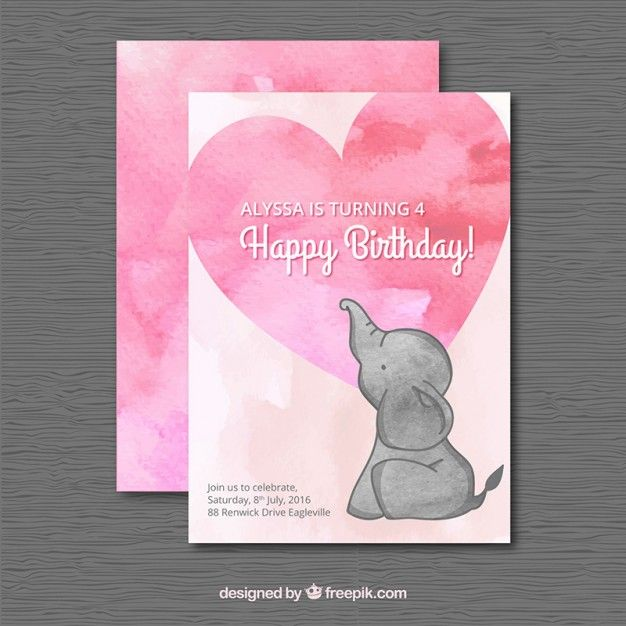 Watercolor birthday card with an elephant Free Vector