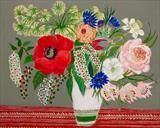 Red poppy and zig zag cloth by Rah Rivers, Painting, Acrylic on board