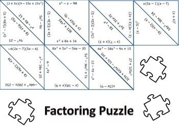 This+factoring+puzzle+includes+special+cases+(difference+of+squares,+sum/difference+of+cubes)+and+factoring+expressions+that+have+multiple+steps+(take+out+a+GCF+and+then+factor+what+is+left)
