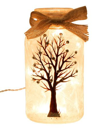 Love this Frosted Tree Rhinestone-Accent Light-Up Glass Mason Jar on #zulily! #zulilyfinds