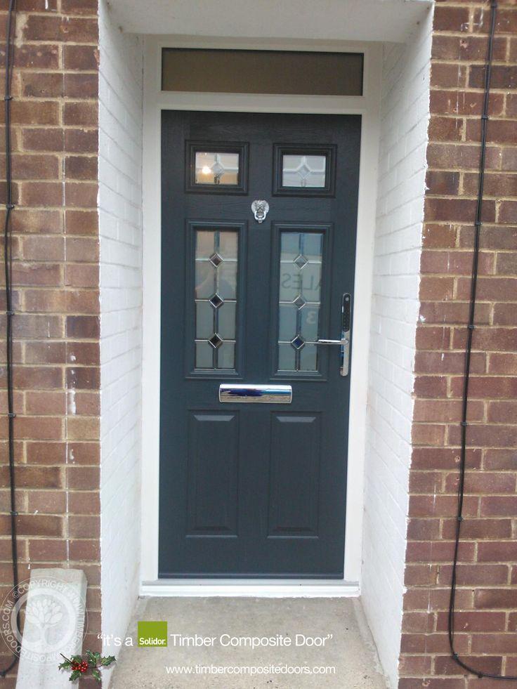 4 Panel Sunburst Composite Front Door In Chartwell Green