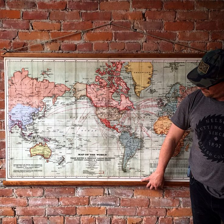 """Large canvas wall map complete with wood dowels. $260. 60"""" wide. Only available at the Cartolina store. We ship everywhere, every day. Follow us on Facebook and Instagram. Email us for more details. www.cartolina.com"""