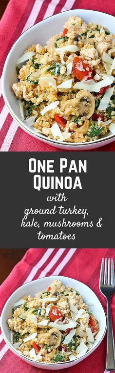 One pan quinoa with Ground Turkey, Kale, Mushroom and Tomatoes - get the easy and healthy weeknight meal on RachelCooks.com!