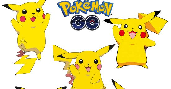 Vector e imagen normal de Pikachu del juego Pokémon Go en 5 poses distintas. Descarga gratis.