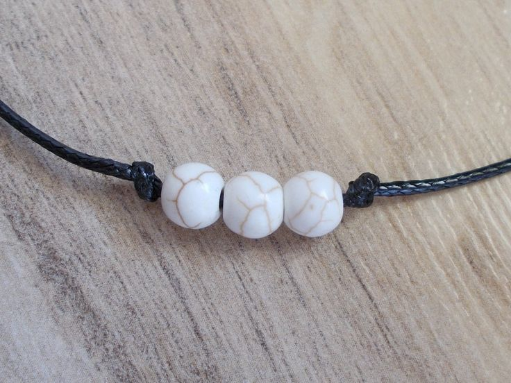 Howlite beads choker necklace, 3 Howlite  Marble Beads, Black Nylon Cord, Minimal Design, Delicate, Dainty, Trendy, Everyday, Gift for her by BluePinkJewelry on Etsy