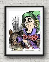 "11x14 Alice in Wonderland Decorations, ""The Mad Hatter Tea Party"" Borderless Fine Art Print. Size: 11x14 Inches"
