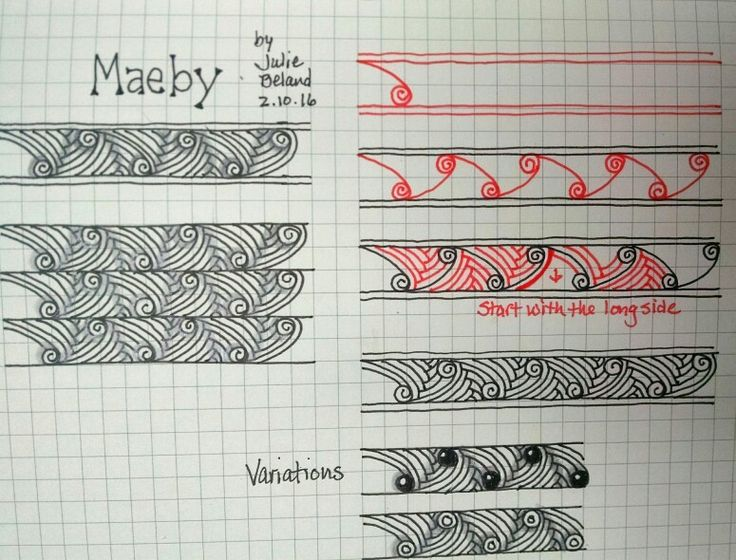 New tangle pattern, Maeby. Julie Beland. 2/16. Zentangle.