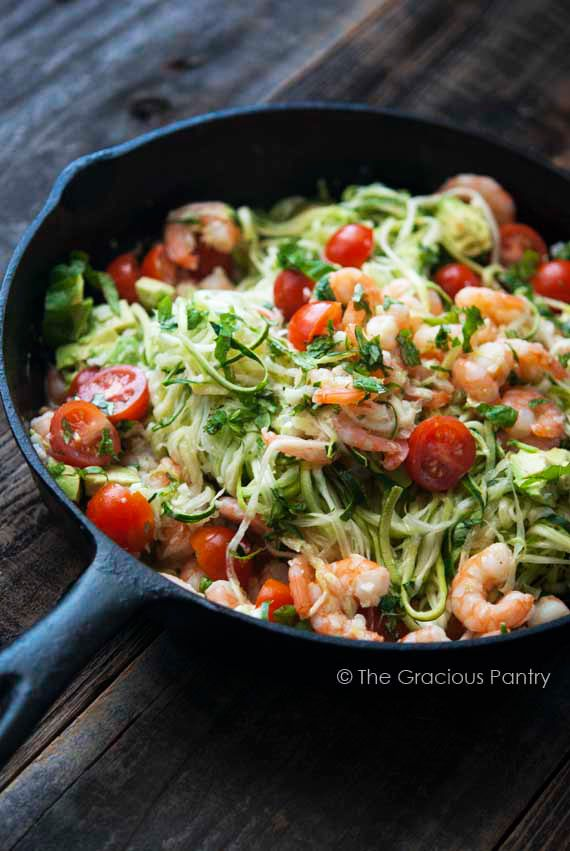 Enjoy this #flavorful & easty-to-prepare Clean Eating Shrimp Zoodles recipe this week - your family will thank you.